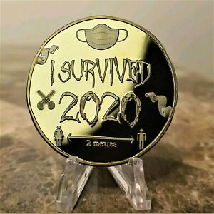 I Survived 2020 Commemorative Gold Plated Collectible Physical Souvenir Coin
