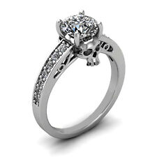 1.80ct White Round Cut Diamond Engagement Wedding Ring Gothic Skulls 925 Silver