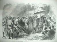 GHANA ASHANTIS TIR A L'ARC A L'OISEAU IMPRIMERIE HOTEL DU FIGARO GRAVURES 1874
