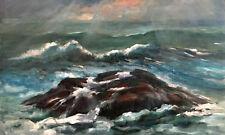 Bar Harbor Maine Ocean Surf 30x48 in. Oil panel Hall Groat Sr.