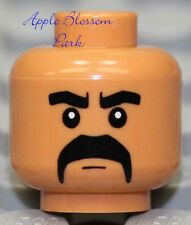 NEW Lego Medium Brown FLESH MINIFIG HEAD - Male w/Dark Black Moustache Man Hair