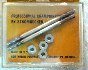 """(2) 2"""" Strombecker metal Axles & 4 Nuts 5:40 Vintage 1960s Original 1/32 NOS"""