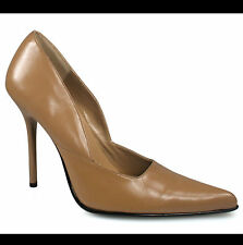 "MILAN-01 GENUINE LEATHER TAN Colour Classic Pointed Pumps 4.5"" Heel 9US=8AU"