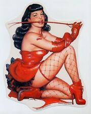 HUGE RARE Bettie Page Red Corset Fishnets Whip Vinyl Sticker/decal Art by Olivia