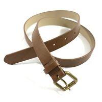 J. Crew M Medium Genuine Leather Belt Slim Brown Gold Buckle B7371 Womens