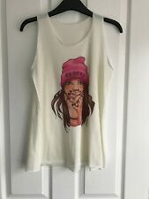 Cream long Vest top - size S