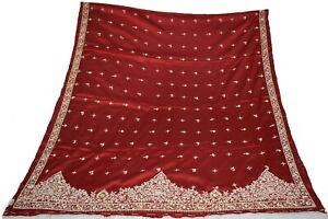 Vintage Heavy Dupatta Maroon Pure Satin Silk Hand Beaded Zardozi StoleDC1483