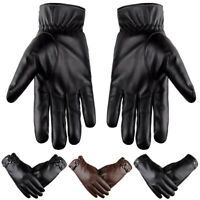 AM_ Men Winter Faux Leather Gloves Autumn Winter Warm Thick Mittens Charm