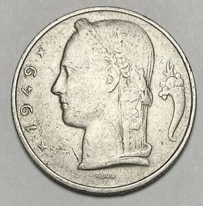 1949 Belgium 5 Five Franc French Text Copper-Nickel Circulated Coin (0888)