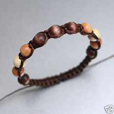 10mm Mixed Wooden Beads Brown Shamballa Adjustable Boho Bracelet Men Women