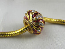 EXQUISITE RED FABERGE EGG CHARM BEADS FOR EURO STYLE CHARM BRACELETS  (FAB 089)