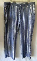 Old Navy Women's Size XL Blue Stripe Linen Pants Wide Leg Elastic Waist Pull On