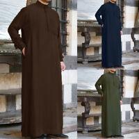 Mens Muslim Middle East Long Sleeve Loose Arab Thobe Islamic Solid Kaftan Robes