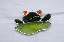 Usa-Made Comical Frog Genuine Stained Glass Sun Catcher by Renaissance Glass