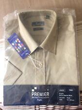 """Bnwt Mens 15.5"""" Premier PR202 Khaki Poplin Short Sleeve Shirt"""