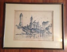 1930's Etching MANHATTAN OASIS Alexander Stern Signed Limited Edition