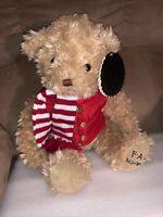 2018 FAO Schwarz Anniversary Teddy Bear with Red Puffer Vest & Scarf  NWT Plush