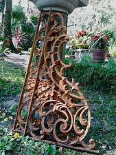 Two Ornate Iron French Scroll Corbels Brackets Braces Large Heavy Gate + Garden
