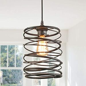 LNC A03291 Rustic Farmhouse Rust Cage Hanging Pendant Lamp,Brown