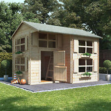 19mm Unique Log Cabin Play House Two Storey Raised Bunk Kids Garden Summer House
