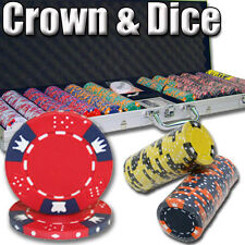 New 600 Crown & Dice 14g Clay Poker Chips Set with Aluminum Case - Pick Chips!