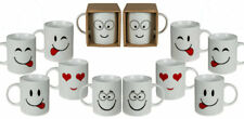 Set of 12 Emoji Coffee Tea Mugs Funny Face Ceramic Cups Drink Kitchen Novelty