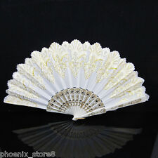 White- Spanish FLAMENCO Wedding Party Folding Dancing Hand Fan NEW