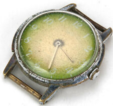 ZARYA Zaria Russian Watch USSR vtg old retro 17 Jewels AS IS parts green dial