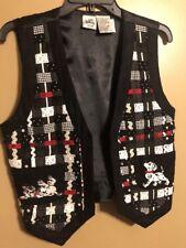 Disney Women's Medium 101 Dalmatians Embroidered Vest Patchwork