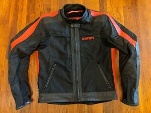 Ducati Textile and Leather CE Armored Motorcycle Jacket Black & Red - Large