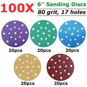 "100PCS 150mm 6"" Wet Dry Sanding Discs For Festool 17 Hole Sandpaper Pads 80 Grit"