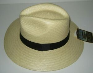 Dorfman Pacific panama style palm Straw outback fedora hat made in mexico L / XL