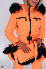 Women Winter Waterproof Ski Snowboard Jumpsuit Fox Fur Hooded Mittens Bag