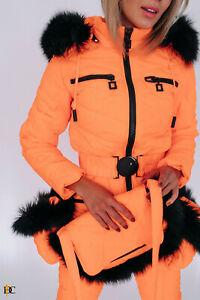 Women Winter Waterproof Ski Snowboard Jumpsuit Fox Fur Hooded Mittens Bag