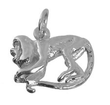 Genuine Sterling Silver 925 screaming playful capuchin monkey 3D charm Jewelry
