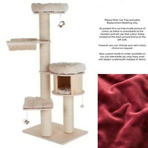 Handmade BURGUNDY RED Removable Cat Bed Replacement Set for Natural Paradise XL