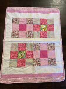 BABY CRIB THROW PATCHWORK QUILT BLANKET PASTELS PINK FLORAL 32x42