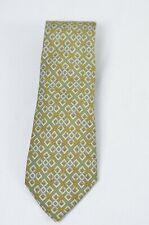 Hermes Olive Green 100% Silk Tie - Rope Interlocked Geometric Pattern
