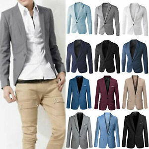 Men's Tuxedo Slim Blazer Suit Jacket Formal Work Dress Wedding Party Coat Tops U