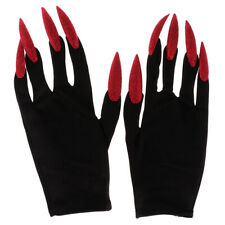 Scary Woman Witch Gloves Long Red Glitter Fingernails Halloween Costume