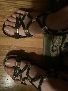 Steve Madden Sandals Size 9 M Braided Gold Accents Casual