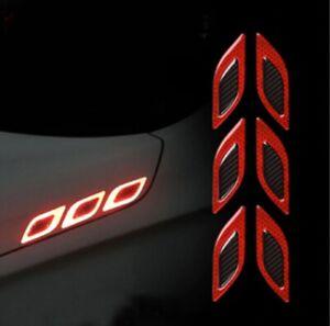 Carbon Fiber Outer Red Reflective Door Fender Trim Molding 6PC 2019-2021