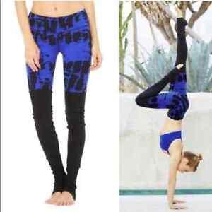 ALO Yoga Tie Dye Goddess Leggings Electric Blue XS
