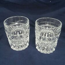 Old Fasioned Low Ball Cut Glass Style Molded Whiskey Tumblers Rock Glasses (2)