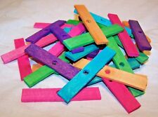 """40 Bird Toy Parts 3"""" Colored Wood Blocks  Wooden Parrot Toy Parts W/ 1/4"""" Hole"""