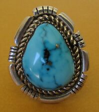 Native American Navajo .925 Sterling Gem Quality Morenci Turquoise Ring Size 9