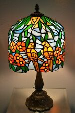 Tiffany Style Art Stained Glass Lamp Parrots & Flowers And Jewels Shade