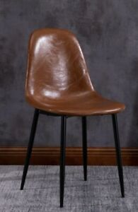 Faux Leather/ Vegan Leather Dining Chair  Dining Room Lounge Kitchen Chair Tan