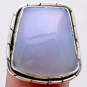 Natural Chalcedony 925 Sterling Silver Ring s.8.5 Jewelry 8565