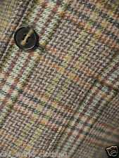 French Connection Marrone/Verde Lana Giacca di tweed con toppe sui gomiti M/UK 40/Lungo